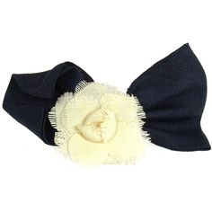Pre-owned  Chanel Vintage Cc Logos Ribbon Camellia Motif Hair Barrette ($302) ❤ liked on Polyvore featuring accessories, hair accessories, white, hair clips, chanel hair clip, white flower hair clip and barrette hair clips