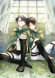Tags: Anime, Yuuichi-87, Leaning Against Each Other, Hand On Knee, Shingeki no Kyojin, Rivaille, Eren Jaeger
