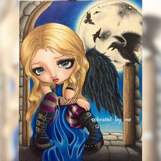 The whispered word, Lenore A Fantasy Art Adventure [No.2] Jasmine Becket-Griffith ✏️Prismacolor Premiere & Faber Castell Polychromos 11/9/16 #jasminebecketgriffith #jasminebecketgriffithcoloringbook #strangeling #adultcoloring #coloringforadults #adultcoloringbook #creativelycoloring #coloringbook #coloring #adultcolouring #colouring #colouringbook #beautifulcoloring #coloring_masterpieces #bayan_boyan #coloring_secrets #mycreativeescape #pencilart #pencil #majesticcoloring #prismacolor...