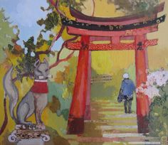 From tori gate to sun gate 35cm x30cm 2015 Acrylics on wood panel