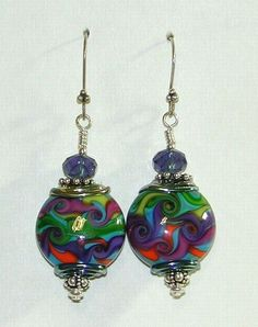 Many Rivers to Cross Colorful Artisan Lampwork Bead Earrings