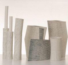 Ceramic vases art by Guido De Zan reminds Morandi still life