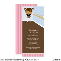 Cute Ballerina Girl's Birthday Party Card Adorable invitations for your ballerina themed party. Browse our store for matching envelopes, stickers and more! Fun birthday party invites - customize your invitations. #birthdayparty #invites #invitations