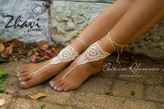 Light Beige Crochet Barefoot Sandals, Bridal Jewelry, Wedding Sandals, Beach Party Shoes, Yoga Shoes, Sexy Anklet, Summer Crochet Sandals