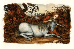 Personal collection Art by Mercer Mayer    Offered for the first time, these imaginative and sophisticated images are from Mr. Mayer's personal collection. Available only through this website for a limited time.        The inicorn is traditionally thought of as fierce yet good, selfless yet solitary, but always mysteriously beautiful. This enchanting image suggests a moment both bazaar and mystical in which the wounded unicorn is comforted by a young girl.