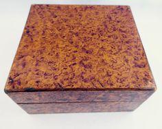 Vtg Wood Trinket Box Burl Faux Hand Painted Finish Hinged Lid Square England
