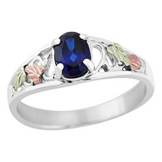 Black Hills Gold on Silver Created Sapphire Ring -- Continue to the product at the image link.Note:It is affiliate link to Amazon.