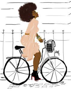 Niki Kobi Afro Girl ride bike with Class