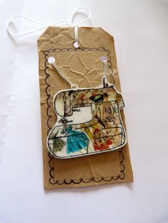 Sewing machine necklace, shrink plastic pendant,  hand illustrated necklace by Floralchic, via Etsy.