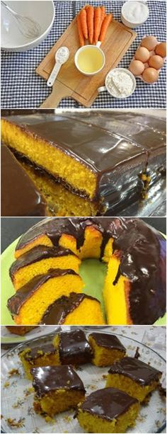 BOLO DE CENOURA SIMPLES E FÁCIL DE FAZER!! AQUI>>>Bata no liquidificador a cenoura, os ovos, o sal, o óleo e, por último, misture a #receita#bolo#torta#doce#sobremesa#aniversario#pudim#mousse#pave#Cheesecake#chocolate#confeitaria farinha de trigo e o fermento Kitchen Recipes, Cooking Recipes, Healthy Recipes, Churros, Cooking Joy, Good Food, Yummy Food, Cupcake Cookies, Deserts