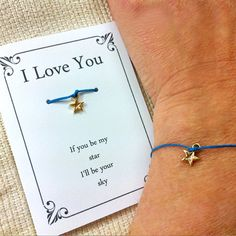Wish Bracelet, Star Pendant with Love Message ,Inspirational quote, Gift card, Gift ideas for girlfriend, Boyfriend, Couples,Gift under 10 A small