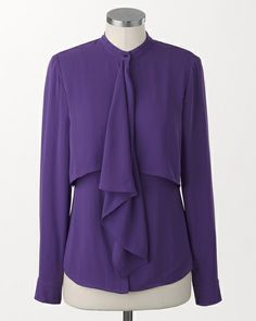 Ruffle cascade blouse | Coldwater Creek - great with a little motorcycle jacket and jeans or dress it up with a suit