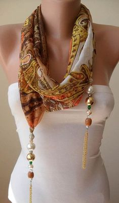 Diy Scarf Necklace - Jewelry Scarf - Golden Colors - with Beads and Chain - Trendy - Fashion Scarf Necklace, Scarf Jewelry, Fabric Jewelry, Diy Jewelry, Handmade Jewelry, Beaded Necklace, Jewelry Making, Necklace Chain, Fashion Necklace