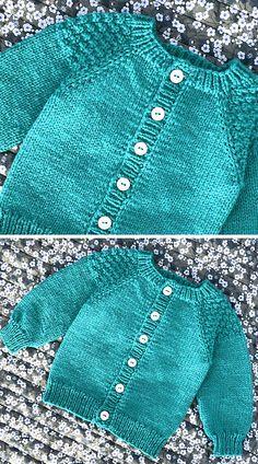Baby Cardigan Knitting Pattern Free, Beginner Knitting Patterns, Knitted Baby Cardigan, Knit Baby Sweaters, Chunky Knitting Patterns, Knitting For Kids, Free Knitting, Crochet Baby, Knit Crochet