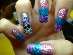rainbow haired skull 2 - Nail Art Gallery nailartgallery.nailsmag.com by NAILS Magazine nailsmag.com #nailart