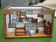 scale Seaside Room Box by shinynewthing Vitrine Miniature, Miniature Rooms, Miniature Houses, Miniature Furniture, Dollhouse Furniture, Dollhouse Dolls, Dollhouse Miniatures, Fairy Houses, Doll Houses