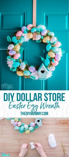 Come learn how to make a sweet Spring and Easter wreath featuring speckled eggs ribbon pom-poms moss and a bird house. all from the dollar store! Diy Spring Wreath, Spring Crafts, Easter Crafts For Kids, Easter Ideas, Easter Food, Bunny Crafts, Easter Dinner, Easter Table, Easter Party