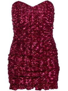 Fuschia sequinned mini dress from Giuseppe Di Morabito featuring a strapless design, a sweetheart neckline, a back zip fastening, a fitted silhouette and a ruffled hem. Short Beach Dresses, Pink Mini Dresses, 2 Piece Prom Dress, The Dress, Stage Outfits, Kpop Outfits, Glitter Dress, Sequin Dress, Strapless Dress