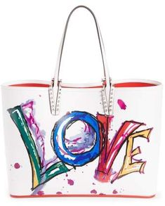 66443cac1a00 Christian Louboutin Cabata Paris Love Embellished Leather Tote