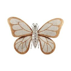 Butterfly Brooch in 18k Gold and Platinum with Diamonds