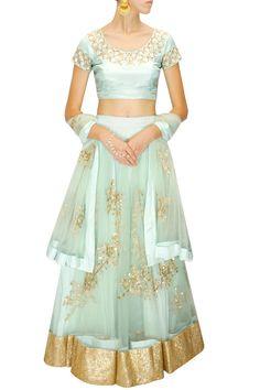 Prathyusha Garimella - Light blue floral embroidered lehenga set