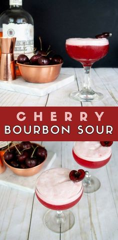 Cherry Bourbon Sour It's cherry season which means it's cherry cocktail time! Grab this Cherry Bourbon Sour recipe made with fresh cherries for a tart and slightly sweet spin on the classic Whiskey Sour. Pink cocktail and bourbon cocktail. Bourbon Cocktails, Rosa Cocktails, Whiskey Drinks, Cherry Cocktails, Bourbon Mixed Drinks, Sweet Cocktails, Sour Cocktail, Cocktail Drinks, Fun Drinks