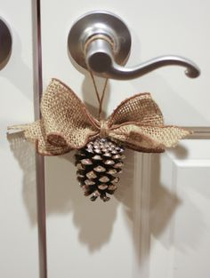 May Arts&Splash Of Colorare the perfect combination for glitter & burlap! Hadley had collected some pine cones so we decide