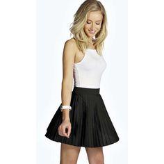 Boohoo Addilyn Pleated Crepe Mini Skirt (630 DOP) ❤ liked on Polyvore featuring skirts, mini skirts, pleated skirt, crepe skirt, mini skirt, pleated mini skirt and short skirts