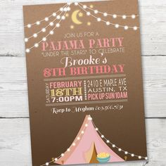 Sleep Over Invitation, Pink Tent Pajama Party Invitation, Pajama Party Invite, Sleep Over Party, Glamping Party Invitation, PRINTABLE by partymonkey on Etsy https://www.etsy.com/listing/262304346/sleep-over-invitation-pink-tent-pajama