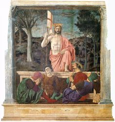 Piero della Francesca, The Resurrection, 1463-65.  The figure of Christ is the most powerful and awesome that Piero ever painted.  The painting is the glory of the town of Sansepolcro in Tuscany.