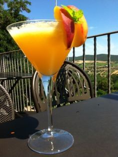 Peach Bellini - simple and delicious. And there's alcohol in it :)