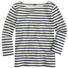 J.Crew Striped Boatneck T-Shirt (675 ZAR) ❤ liked on Polyvore featuring tops, t-shirts, shirts, tees, j.crew, stripe shirt, stripe t shirt, white stripes shirt, cotton t shirts и striped shirt