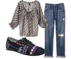 The shoes are beautfiful, bohemian style and tribal I adore them. I totally go for the boyfriend jeans because I'm kind of a tomboy, but I can still be stylish. The blouse is not really my style, but I would totally wear it with this outfit.