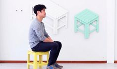 Turning Wall Art into Functional Furniture for Small Apartments by Jongha Choi. Folding Furniture, Funky Furniture, Furniture Design, Folding Chairs, Small Apartment Furniture, 3d Video, Tiny Apartments, 3d Wall Art, Small House Plans