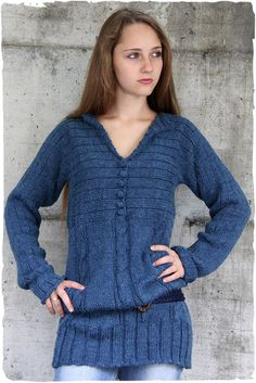 long sleeve sweaters dress - ribbed and braids - wool buttons
