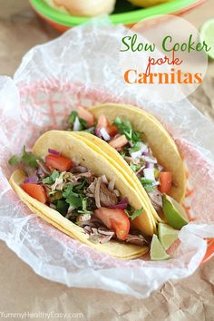 Slow Cooker Pork Carnitas ...these look delicious! #dinner #recipes