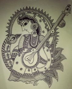 Madhubani Paintings Peacock, Kalamkari Painting, Madhubani Art, Indian Art Paintings, Art Forms Of India, India Art, India India, Art Drawings Sketches, Zentangle Drawings