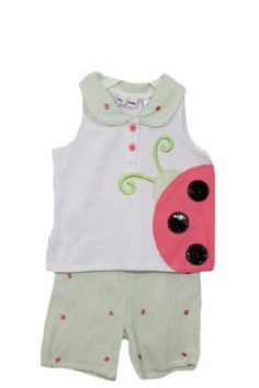 $10.00-$24.00 Baby 2 piece set / White top features large ladybug and flower shaped buttons / Striped shorts have embroidered ladybugs and back elastic / By: B.T. Kids /