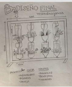 Este fue el diseño final que escogimos para nuestra jardinera, después de analizar varios! Consiste en botellas donde colocaremos las plantas y un sistema de riego que se encargara de regarlas