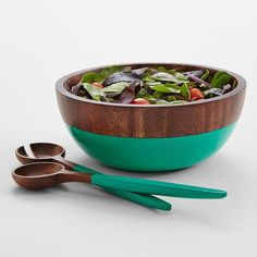 Wooden Serving Bowl. Love the bright pop of color that takes this wooden serving bowl from ordinary to wow!