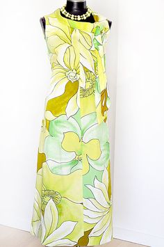 Vintage Dress 1960s Hawaiian Maxi by MaudeAndLola on Etsy, $40.00