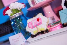 Hip Postal Mail Themed Party Ideas - Dessert spread (Mailbox cake and sweet treats) Party Themes, Party Ideas, Mailbox, Birthday Candles, Sweet Treats, Photoshoot, Cake, Desserts, Tailgate Desserts
