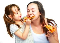 Mother and daughter eating pizza. Young mother and her little daughter eating pi , Happy Images, Healthy Pizza, Eat Pizza, People Eating, Eating Habits, Junk Food, Healthy Lifestyle, At Least, Lose Weight