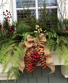 Winter Window Boxes Outdoor 1 - Winter Window Boxes Outdoor 1 - How to Dress Up Inexpensive Garland items Sprucing up the window boxes for Christmas with greenery, pine cones, tartan ribbon and rusty metal jingle bell garland Winter Window Boxes, Christmas Window Boxes, Christmas Planters, Christmas Porch, Outdoor Christmas Decorations, Christmas Wreaths, Holiday Decor, Fall Planters, Christmas Greenery