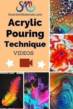 Acrylic Pouring Technique list with videos and explanation by Smart Art Materials. Acrylic Pouring Technique list with videos and explanation by Smart Art Materials. Pour Painting Techniques, Acrylic Pouring Techniques, Acrylic Pouring Art, Painting Lessons, Acrylic Art, Flow Painting, Acrylic Painting Tutorials, Painting Abstract, Marble Painting