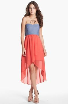 Trixxi Mixed Media Cutout High/Low Dress (Juniors) (Online Only) available at #Nordstrom