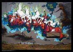 "EASH - Wall for ""Bordeaux sous les bombes"" jam - 2014 #graff #graffiti # street art #wall #tag #red #wildstyle #eash #each #streetart #white #blue #grey #Bordeaux #eash #each #letters"
