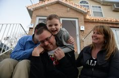 Tim and Christina McCabe with their sons Ryan,5, (c.) and Timmy,13, on their front stoop. Ten years ago Christina donated a kidney to her husband  but unfortunately he is in need of another transplant. He has been on dialysis five days a week for over two years and was told by his doctors that his best bet would be a living donor.