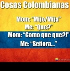 """Never say """"que""""<-- yeah! It makes any Colombian parent cringe."""" I couldn't even answer like this to any elder family member. Let's just say, it's hazardous to your health. Colombian Culture, Colombian Art, Colombian Girls, Funny Memes, Hilarious, Jokes, Quotes To Live By, Me Quotes, Spanish Memes"""