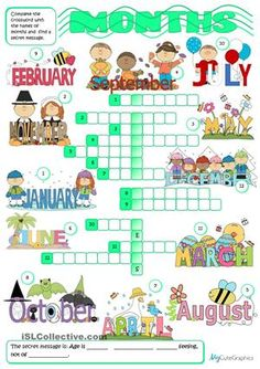 A simple activity to practise months with young learners. - ESL worksheets